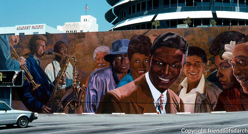 Los Angeles: Mural by Richard Wyatt, 1990. Vine St., N. of Hollywood Blvd., Hollywood. (Chet, Gerry, Bird, Tito Puente, Miles, Ella, Nat Cole, Shelley Manns, Billie, Duke)   Photo '91.