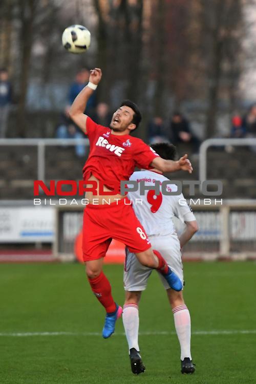23.03.2017, BELKAWarena, Bergisch Gladbach , GER, FSP, Testspiel, SV Bergisch Gladbach 09 (MRL) vs. 1. FC K&ouml;ln ( 1.FBL) <br /> <br /> im Bild / picture shows: <br /> Milos Jojic (1. FC Koeln #8),im Zweikampf gegen Yannick Albrecht (Bergisch Gladbach #9),<br /> <br /> <br /> <br /> Foto &copy; nordphoto / Meuter