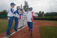 18 August 2010: Gary Garcia Martinez of Team France is seen during the players introduction during the France 7-3 win over Ukraine, at the 2010 European Championship, under 21, in Brno, Czech Republic.