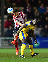 Lincoln City's Luke Waterfall vies for possession with Chester's James Alabi<br /> <br /> Photographer Chris Vaughan/CameraSport<br /> <br /> Vanarama National League - Lincoln City v Chester - Tuesday 11th April 2017 - Sincil Bank - Lincoln<br /> <br /> World Copyright &copy; 2017 CameraSport. All rights reserved. 43 Linden Ave. Countesthorpe. Leicester. England. LE8 5PG - Tel: +44 (0) 116 277 4147 - admin@camerasport.com - www.camerasport.com