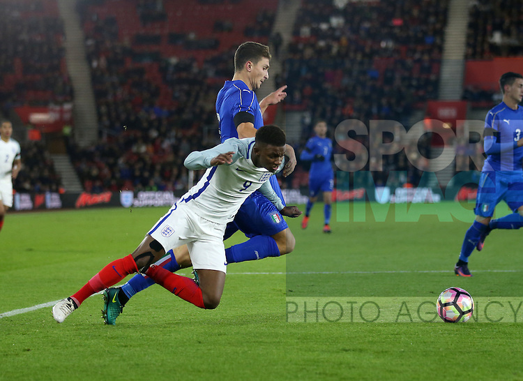 England's Demarai Gray gets brought down but no penalty is given during the Under 21 International Friendly match at the St Mary's Stadium, Southampton. Picture date November 10th, 2016 Pic David Klein/Sportimage
