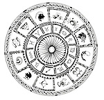 Illustration of Zodiac signs on white background