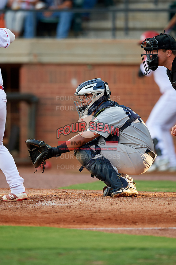 Pulaski Yankees catcher Carlos Narvaez (48) awaits the pitch in front of home plate umpire Colin Baron during a game against the Greeneville Reds on July 27, 2018 at Pioneer Park in Tusculum, Tennessee.  Greeneville defeated Pulaski 3-2.  (Mike Janes/Four Seam Images)