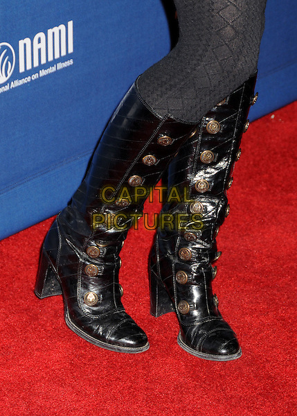 "JENNIFER MORRISON'S BOOTS .""House"" 100th Episode Party at STK, Los Angeles, California, USA..January 21st, 2009.feet heels boots gold buttons patent leather shiny tights .CAP/ADM/BP.©Byron Purvis/AdMedia/Capital Pictures."