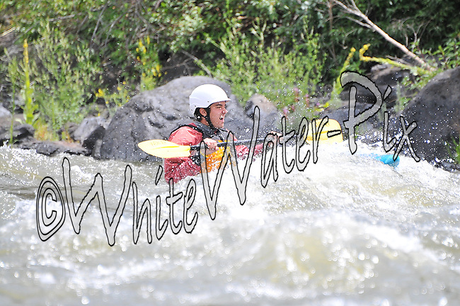 Alpine Quest Sports crashing Cable Rapid while kayaking the Upper Colorado River from Rancho to State Bridge, August 1, 2013, Afternoon Trip, PM, Bond, Colorado - WhiteWater-Pix | River Adventure Photography - by MADOGRAPHER Doug Mayhew