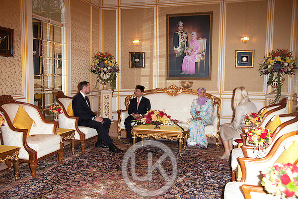 Crown Prince Haakon, and Crown Princess Mette Marit of Norway, begin a three day official visit to Malaysia..Audience with The King & Queen of Malaysia, at Istana Negara, Kuala Lumpur