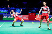 17th March 2018, Arena Birmingham, Birmingham, England; Yonex All England Open Badminton Championships; MarcusFernaldi Gideon (INA) and Kevin Sanjaya Sukamuljo (INA) celebrate winning their semi-final match against Mads Conrad-Petersen (DEN) and Mads Pieler Kolding (DEN)