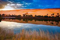 Umm-al-Maa Lake reflections, Sahara Desert, LIbya Ubari Lakes, Ubari Sand Sea  Natural salt lakes in Sahara interior