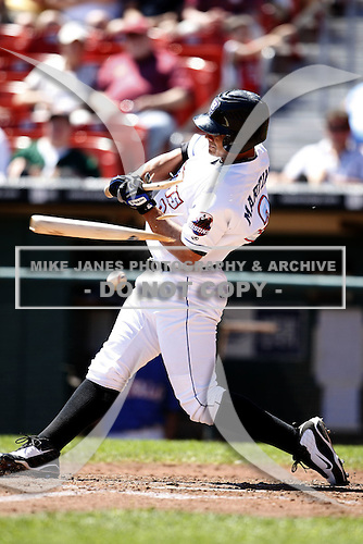 May 21, 2009:  Outfielder Fernando Martinez of the Buffalo Bisons, International League Triple-A affiliate of the New York Mets, shatters a bat during a game at Coca-Cola Field in Buffalo, NY.  Photo by:  Mike Janes/Four Seam Images