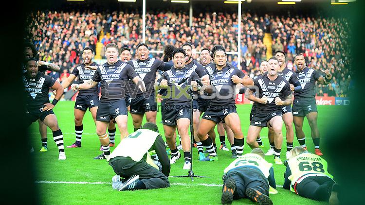 Picture by Simon Wilkinson/SWpix.com - 20/11/2016 -  International Rugby League, Ladbrokes FOUR Nations Final, Australia v New Zealand, 20th November 2016, Anfield, Liverpool<br />Haka Issac Luke