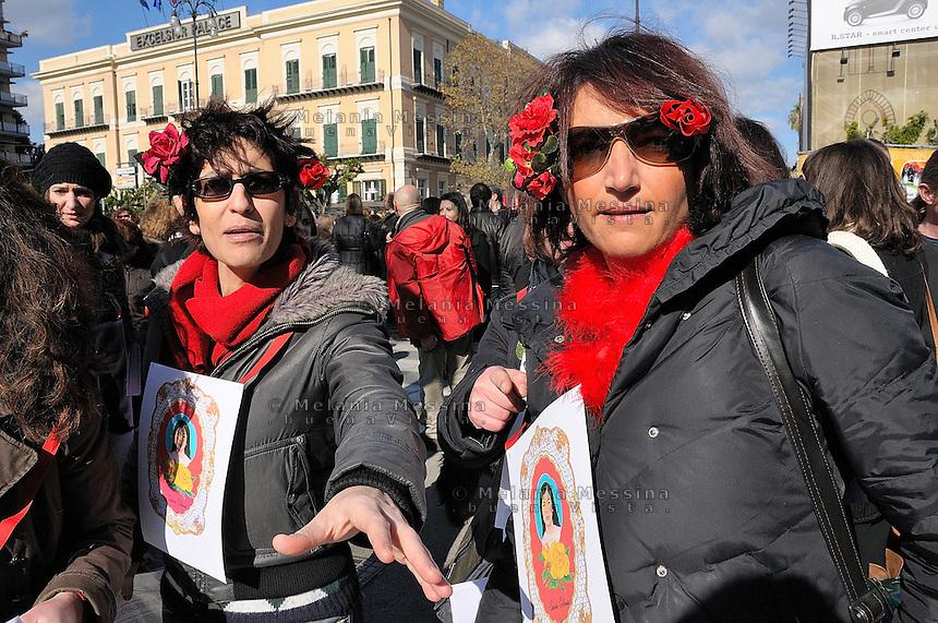 Palermo, protest of women against Berlusconi and in defense of female dignity.<br /> Palermo, manifestazione del 13 febbraio in difesa della dignita' delle donne e a favore delle dimissioni di Silvio Berlusconi.