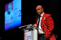 Hall of Fame inductee Earnie Stewart gives his acceptance speech during the 2011 National Soccer Hall of Fame induction ceremony in Foxborough, MA, on June 04, 2011.