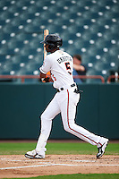 Bowie Baysox designated hitter Henry Urrutia (5) at bat during the first game of a doubleheader against the Akron RubberDucks on June 5, 2016 at Prince George's Stadium in Bowie, Maryland.  Bowie defeated Akron 12-7.  (Mike Janes/Four Seam Images)