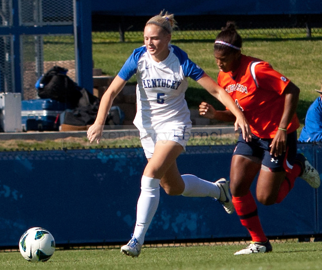 Freshman forward Kennedy Collier battles for the ball during the University of Kentucky's women's soccer game at the UK Soccer Complex in  Lexington, Ky., on Sunday, October. 21, 2012..