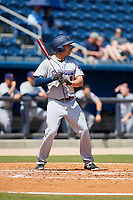 Jacksonville Jumbo Shrimp right fielder Cade Gotta (9) at bat during a game against the Biloxi Shuckers on May 6, 2018 at MGM Park in Biloxi, Mississippi.  Biloxi defeated Jacksonville 6-5.  (Mike Janes/Four Seam Images)