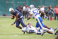 Washington, DC - September 16, 2016: Howard Bison quarterback Kalen Johnson (15) gets sacked during game between Hampton and Howard at  RFK Stadium in Washington, DC. September 16, 2016.  (Photo by Elliott Brown/Media Images International)