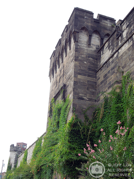 Exterior walls of Eastern State Penitentiary, Philadelphia, Pennsylvania. The site is considered to be the world's first true penitentiary and when it opened in 1829, inmates were kept in complete solitary confinement. The penitentiary was closed in 1971 and is now a historical site and tourist attraction.