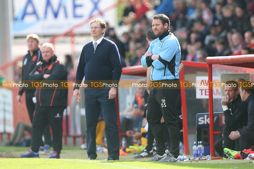 Stevenage manager Darren Sarll looks on during Stevenage vs Mansfield Town, Sky Bet EFL League 2 Football at the Lamex Stadium on 22nd April 2017