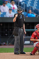 Umpire Chad Whitson during a game between the Louisville Bats and Syracuse Chiefs on June 6, 2016 at NBT Bank Stadium in Syracuse, New York.  Syracuse defeated Louisville 3-1.  (Mike Janes/Four Seam Images)