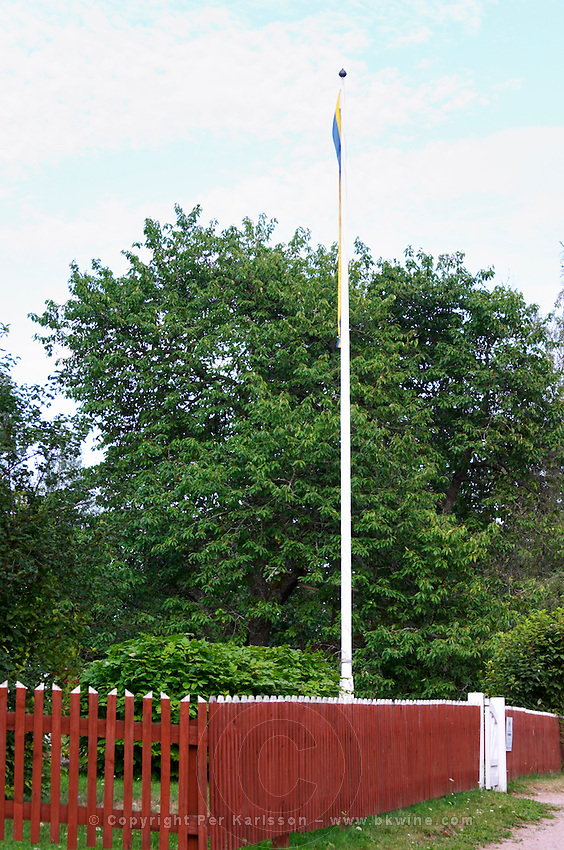 The flag pole that Emil hoisted his siter Lina up in. The original location where Astrid Lindgren's story of Emil in Lonneberga (Emil get's into mischief') was filmed. Katthult Smaland region. Sweden, Europe.