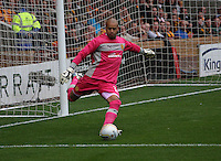 Darren Randolph taking the kick in the Motherwell v Panathinaikos UEFA Champions League 3rd Qualifying Round 1st Leg match at Fir Park, Motherwell on 31.7.12.