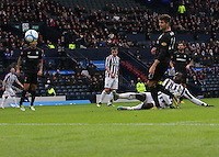 Esmael Goncalves scores the opening goal in the St Mirren v Celtic Scottish Communities League Cup Semi Final match played at Hampden Park, Glasgow on 27.1.13.