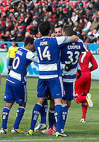 06 April 2013: FC Dallas players celebrate a goal by FC Dallas midfielder Andrew Jacobson #4 during an MLS game between FC Dallas and Toronto FC at BMO Field in Toronto, Ontario Canada..The game ended in a 2-2 draw..