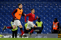 Alexis Sanchez of Manchester United trains on the Chelsea pitch after the final whistle during Chelsea vs Manchester United, Emirates FA Cup Football at Stamford Bridge on 18th February 2019