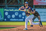1 September 2014: Vermont Lake Monsters pitcher Dominique Vattuone on the mound against the Tri-City ValleyCats at Centennial Field in Burlington, Vermont. The ValleyCats defeated the Lake Monsters 3-2 in NY Penn League action. Mandatory Credit: Ed Wolfstein Photo *** RAW Image File Available ****