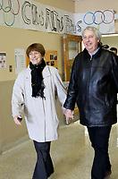 April 7, 2014 - Francoise David, Quebec Solidaire co-leader vote with her husband on the Quebec provincial election day.<br /> <br /> Francoise David, Co-chef, Québec Solidaire et son mari  votant le jour des élections provinciales<br /> <br /> Photo : Alexa Enlow Malky
