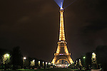 The Eiffel Tower or Tour Eiffel at night, Paris, France.
