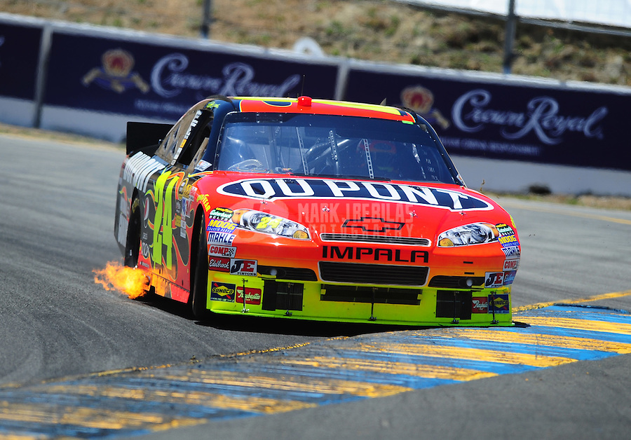 Jun. 20, 2010; Sonoma, CA, USA; NASCAR Sprint Cup Series driver Jeff Gordon during the SaveMart 350 at Infineon Raceway. Mandatory Credit: Mark J. Rebilas-