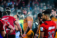 Tomas Lavanini waits for a scrum during the 2019 Super Rugby final between the Crusaders and Jaguares at Orangetheory Stadium in Christchurch, New Zealand on Saturday, 6 July 2019. Photo: Dave Lintott / lintottphoto.co.nz