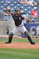 Arkansas Travelers catcher Marcus Littlewood (9) throws to second base during a game against the Tulsa Drillers at Oneok Field on May 22, 2017 in Tulsa, Oklahoma.  Arkansas won 5-4.  (Dennis Hubbard/Four Seam Images)