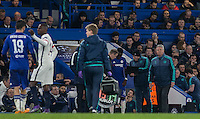 Chelsea Manager Guus Hiddink looks concerned as Diego Costa of Chelsea comes off injured during the UEFA Champions League Round of 16 2nd leg match between Chelsea and PSG at Stamford Bridge, London, England on 9 March 2016. Photo by Andy Rowland.