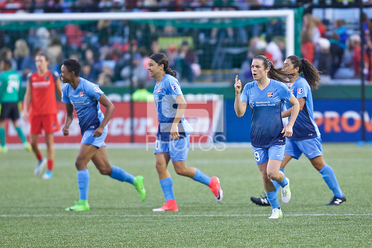 Portland, OR - Saturday June 17, 2017: Sky Blue FC celebrates during a regular season National Women's Soccer League (NWSL) match between the Portland Thorns FC and Sky Blue FC at Providence Park.
