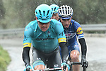 Jakon Fuglsang (DEN), Omar Fraile (ESP) Astana Pro Team and Julian Alaphilippe (FRA) Quick-Step Floors attack during a wet miserable Stage 8 of the 2018 Paris-Nice running 110km from Nice to Nice, France. 11th March 2018.<br /> Picture: ASO/Alex Broadway | Cyclefile<br /> <br /> <br /> All photos usage must carry mandatory copyright credit (&copy; Cyclefile | ASO/Alex Broadway)