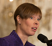 President Kersti Kaljulaid of Estonia participates in a news conference with other leaders of Baltic Nations at The White House in Washington, DC, April 3, 2018. <br /> Credit: Chris Kleponis / Pool via CNP