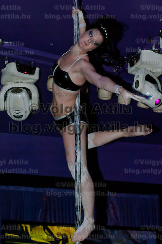 Kirszta Mahler performs during the Miss Poledance Hungary 2011 competition in Budapest, Hungary on September 03, 2011. ATTILA VOLGYI