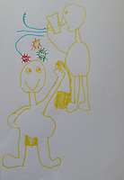 Drawing  of viral transmission by Wyeth Uschmann Grade 1, Yarmouth, Maine, USA