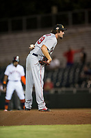 Mesa Solar Sox relief pitcher Josh Taylor (39), of the Boston Red Sox organization, looks in for the sign during an Arizona Fall League game against the Scottsdale Scorpions on October 9, 2018 at Scottsdale Stadium in Scottsdale, Arizona. The Solar Sox defeated the Scorpions 4-3. (Zachary Lucy/Four Seam Images)