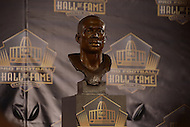 Canton, Ohio - August 6, 2015:The bust of former NFL player Tim Brown is displayed during the 2015 Pro Football Hall of Fame enshrinement in Canton, Ohio August 6, 2015. At time of his retirement, Brown amassed 14,934 receiving yards, second-highest total in NFL history. (Photo by Don Baxter/Media Images International)