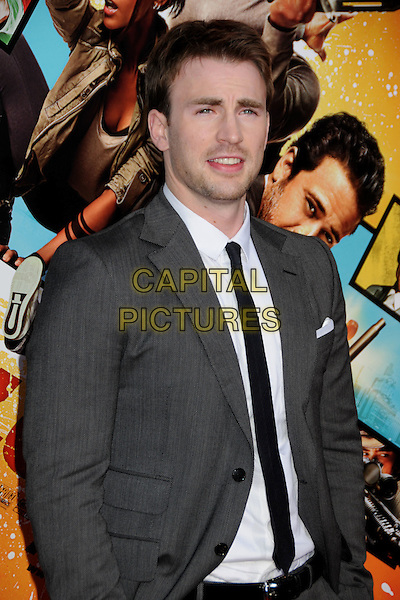 """CHRIS EVANS .""""The Losers"""" Los Angeles Premiere held at Grauman's Chinese Theatre, Hollywood, California, USA, .20th April 2010..half length grey gray suit jacket black white mouth open shirt tie .CAP/ADM/BP.©Byron Purvis/AdMedia/Capital Pictures."""