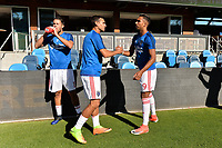 San Jose, CA - Saturday June 17, 2017: Chris Wondolowski, Danny Hoesen prior to a Major League Soccer (MLS) match between the San Jose Earthquakes and the Sporting Kansas City at Avaya Stadium.