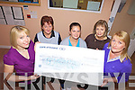 FUNDS: Staff of the Nai?olann Solais Childcare Centre in Milltown presenting a cheque for the proceeds of a recent coffee morning for the Irish Hospice Foundation to Helena O'Sullivan (right) on behalf of the local branch, l-r: Katie Clarke, Ina Cotter, Gillian Murphy, Anne O'Shea, Helena O'Sullivan.
