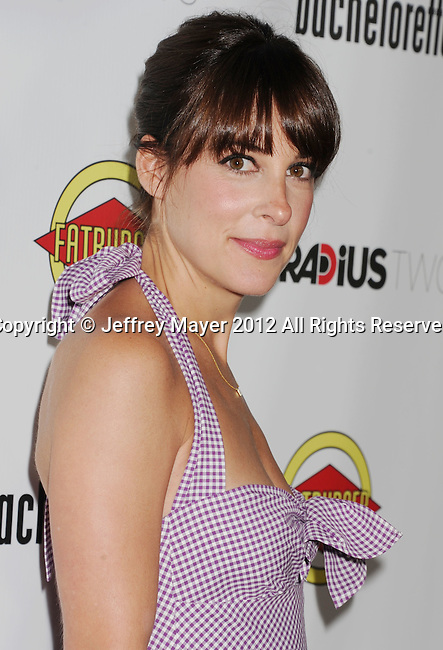 HOLLYWOOD, CA - AUGUST 23: Lindsay Sloane arrives at the Los Angeles premiere of 'Bachelorette' at the Arclight Hollywood on August 23, 2012 in Hollywood, California.
