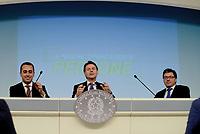 Roma, 3 Luglio 2018<br /> Il Presidente del Consiglio Giuseppe Conte, Il Ministro del Lavoro Luigi Di Maio e il Sottosegretario alla Presidenza Giancarlo Giorgetti.<br /> Presentazione alla stampa del Decreto Dignit&agrave; varato dal Governo