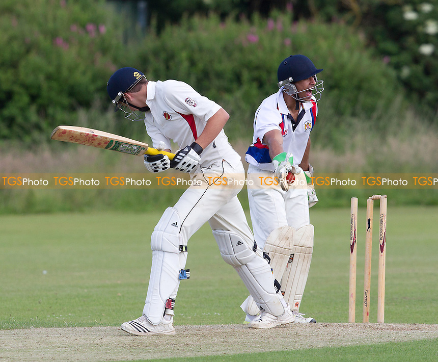 Sam Samarasekera of Hornchurch Athletic appeals for the stumping - Broomfield CC v Hornchurch Athletic CC - Essex Cricket League - 29/06/13 - MANDATORY CREDIT: Ray Lawrence/TGSPHOTO - Self billing applies where appropriate - 0845 094 6026 - contact@tgsphoto.co.uk - NO UNPAID USE
