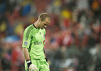 A dejected Toronto FC goalkeeper Stefan Frei #24 walks to the back of the net at the end of the game during an MLS game between the Chicago Fire and the Toronto FC at BMO Field in Toronto on May 14, 2011..The game ended in a 2-2 draw.