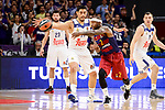 Real Madrid's Gustavo Ayon and FC Barcelona Lassa's Tyrese Rice duringTurkish Airlines Euroleague match between Real Madrid and FC Barcelona Lassa at Wizink Center in Madrid, Spain. March 22, 2017. (ALTERPHOTOS/BorjaB.Hojas)